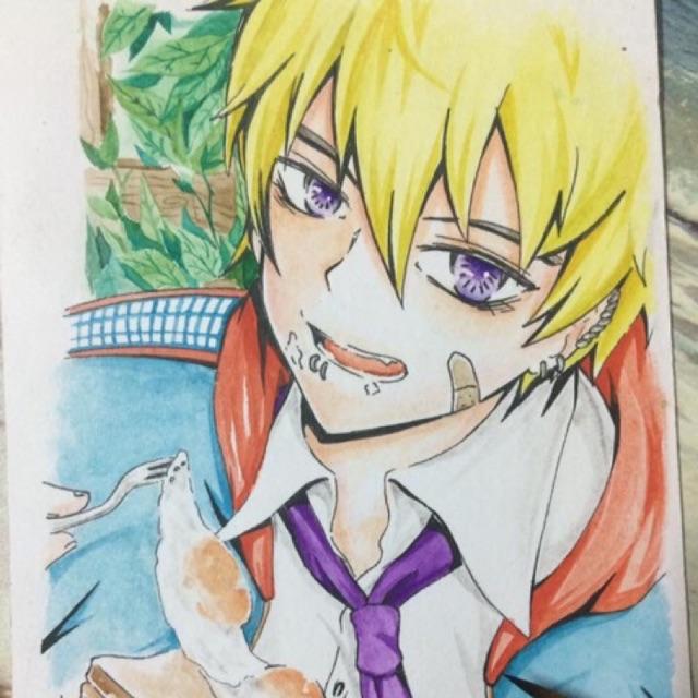 Tranh vẽ anime màu nước