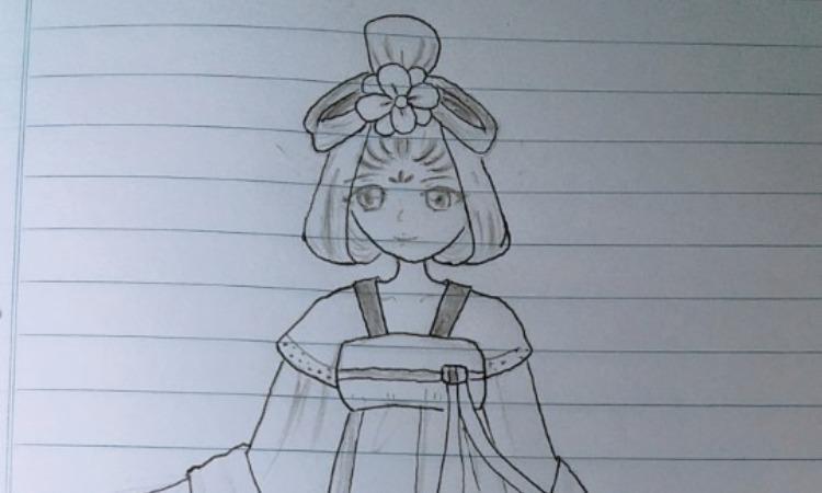 Tranh vẽ anime trên vở kẻ ngang