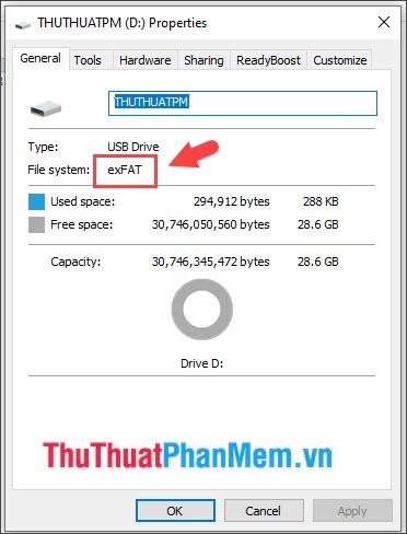 USB trước khi format sẽ có định dạng exFAT