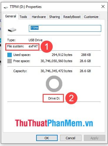 Bạn cần kiểm tra USB Properties đã là chuẩn exFAT hay chưa