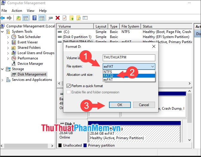 Bạn thiết lập File system là FAT32