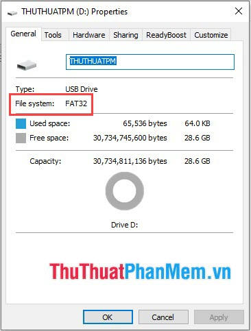 Click chuột phải vào USB và chọn Properties