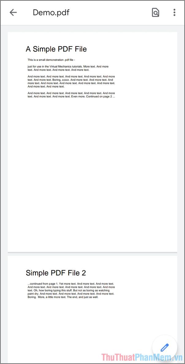 Bạn đã mở được file PDF trên hệ điều hành Android thông qua ứng dụng Trình xem PDF của Google