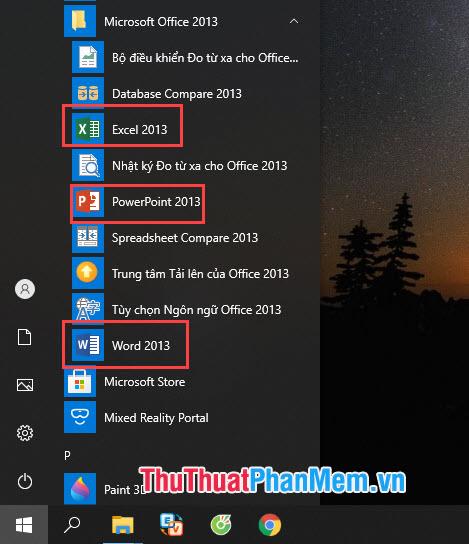 Để kiểm tra có bộ cài Office có cài đặt đúng và đủ những công cụ bạn thiết lập không thì bạn có thể xem trong Start Menu