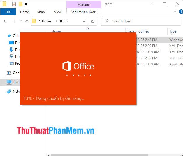 Quá trình tải về và cài đặt Office sẽ diễn ra