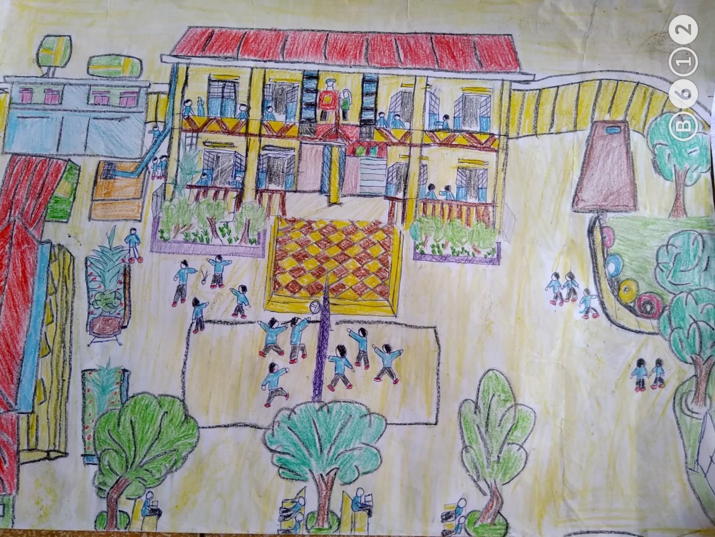 Tranh học sinh vẽ mái trường