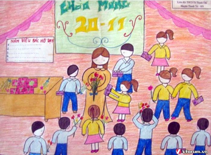 Tranh học sinh vẽ trường học