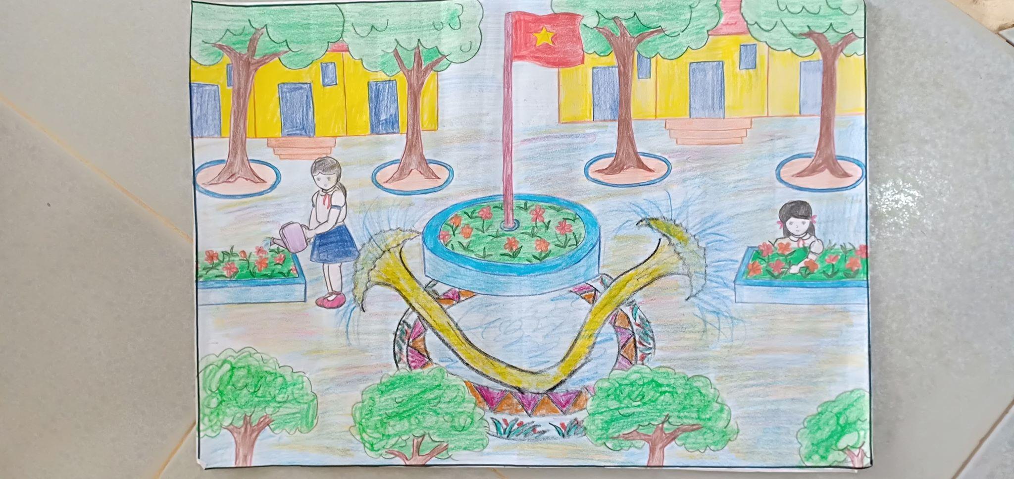 Tranh vẽ mái trường của học sinh cực đẹp