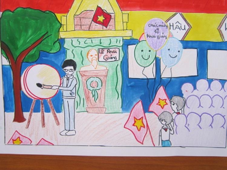 Tranh vẽ mái trường đẹp nhất của học sinh