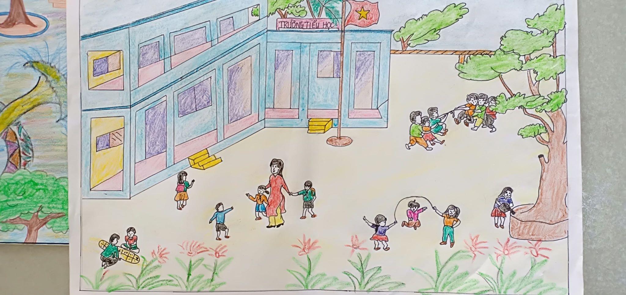 Tranh vẽ ngôi trường của em cực đẹp