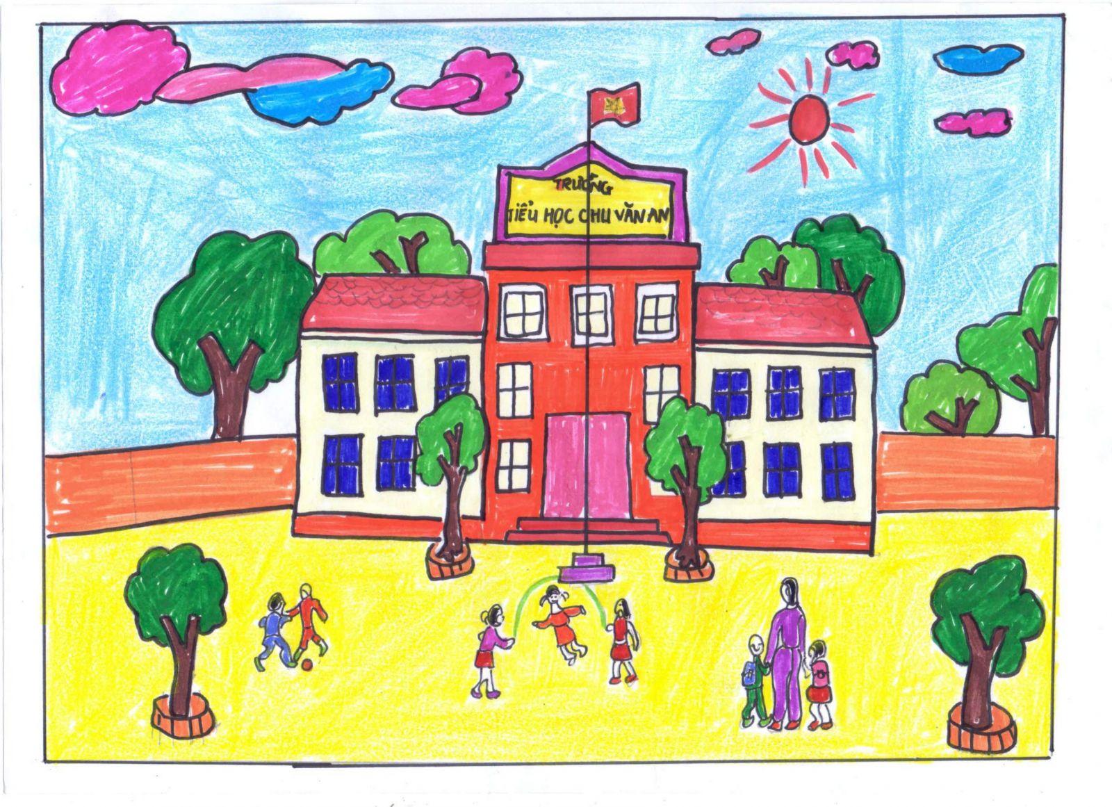 Tranh vẽ ngôi trường của em