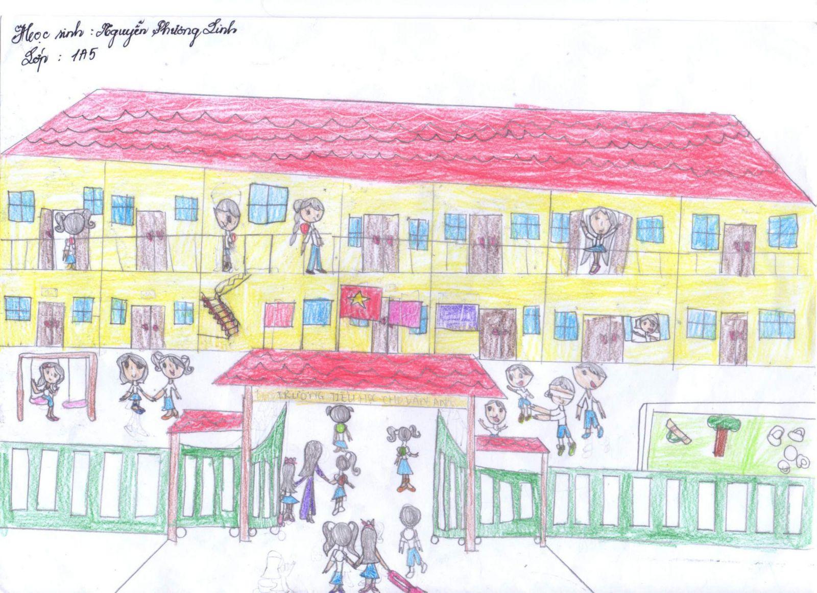 Tranh vẽ ngôi trường của học sinh