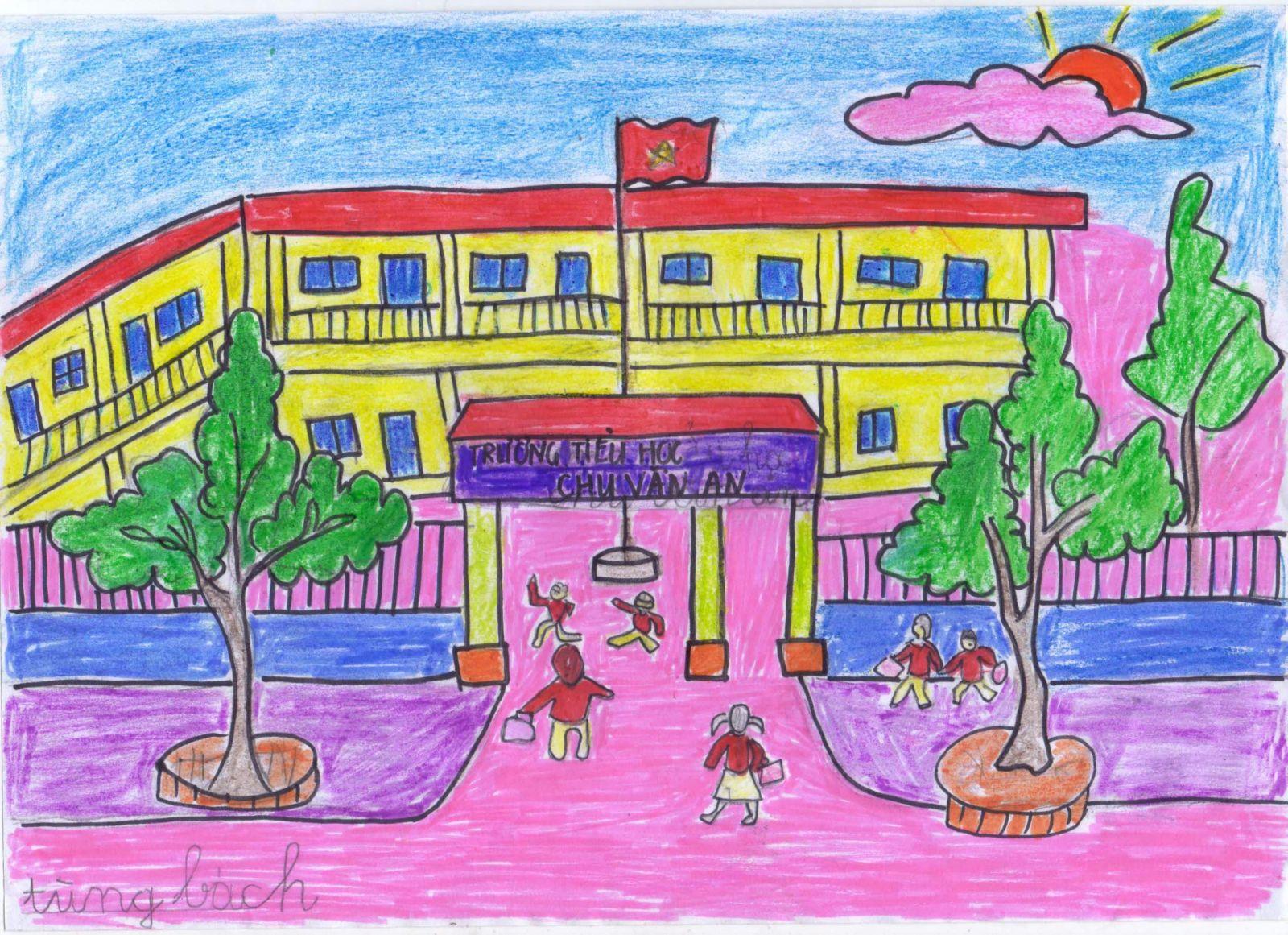 Tranh vẽ ngôi trường mến yêu đẹp