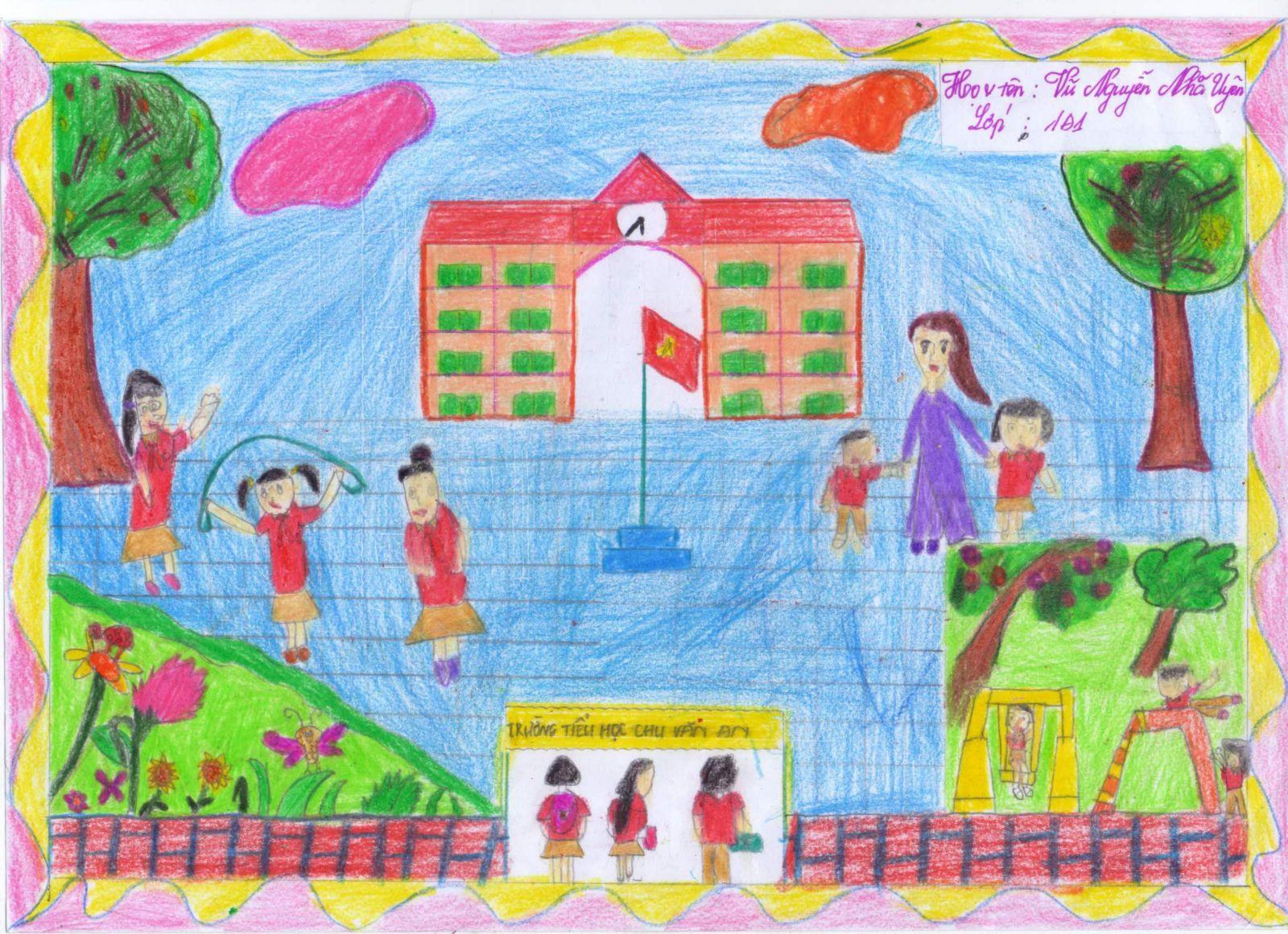 Tranh vẽ trường học đơn giản cực đẹp
