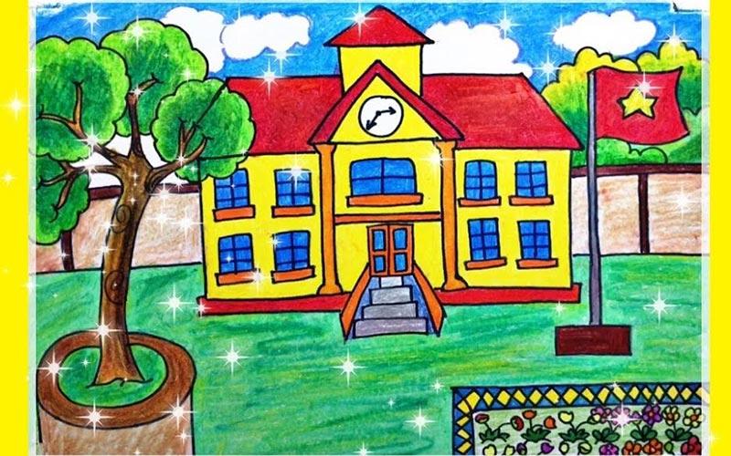 Tranh vẽ trường học đơn giản