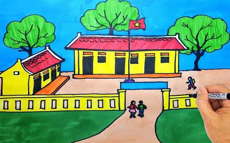 Tranh vẽ trường học thân yêu