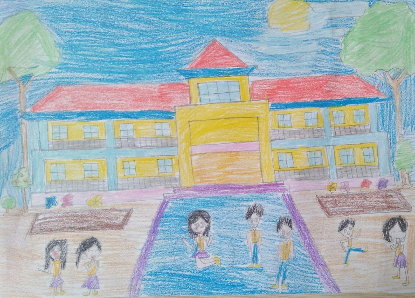 Vẽ tranh đề tài mái trường thân yêu