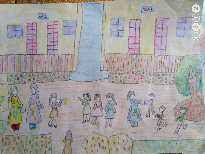 Vẽ tranh đề tài trường học của em
