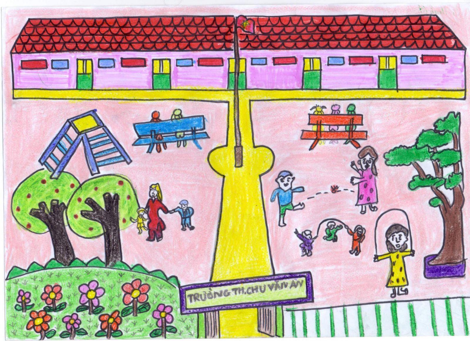 Vẽ tranh đề tài trường học