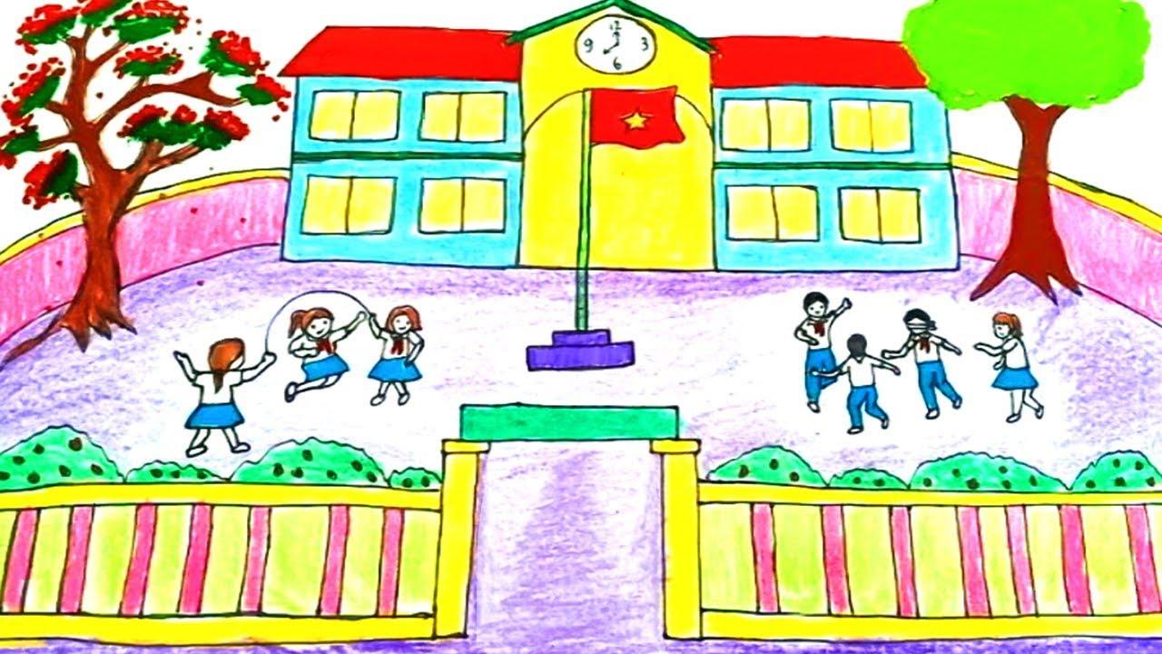 Vẽ tranh trường học