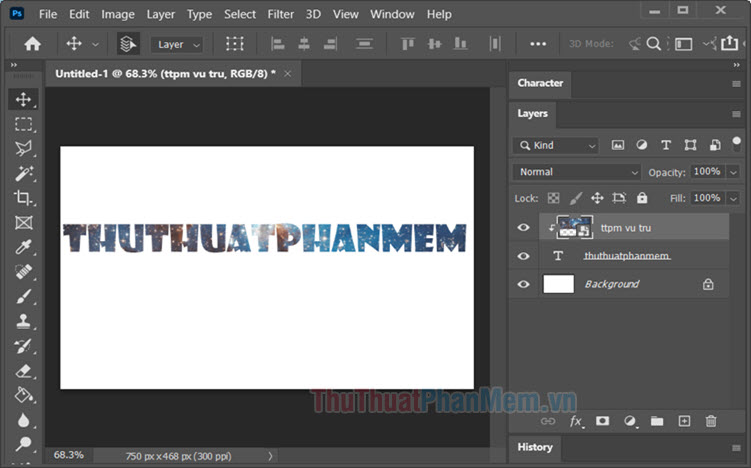 Cách lồng ảnh vào chữ trên Photoshop