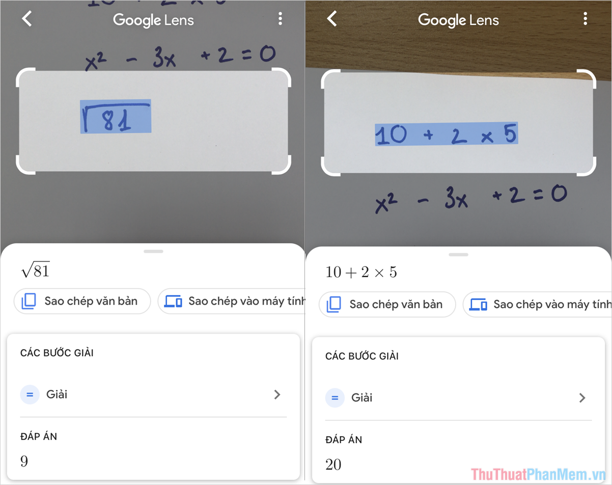 Google Lens có khả năng giải được toàn bộ các phép toán liên quan đến đại số