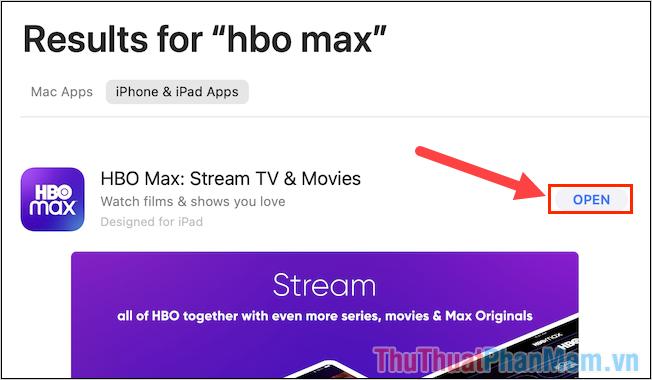 Nhấn Open để mở ứng dụng iPhone, iPad trên máy tính Mac