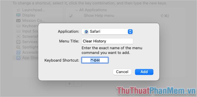 Thiết lập Menu Title và Keyboard Shortcut