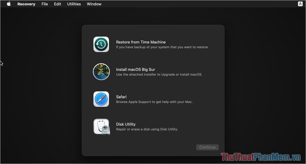 Bạn có thể khôi phục lại máy tính, đặt về mặc định, backup lại bản cài đặt hoặc mở Disk Utility để sửa lỗi