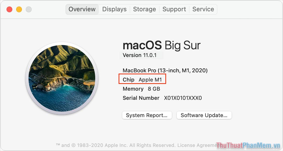 Chọn Apple (góc trên bên trái) và chọn About This Mac để xem cấu hình máy