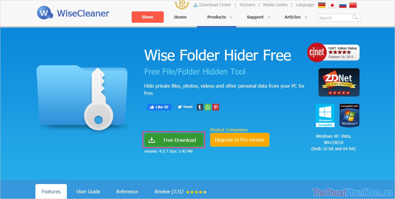 Chọn mục Free Download để tải về máy tính