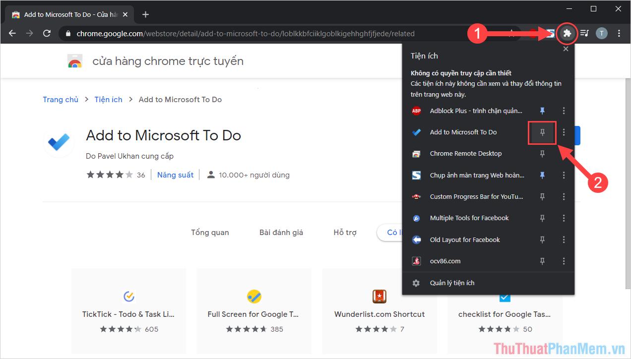 Chọn mục Ghim tiện ích để Microsoft To Do xuất hiện trên thanh Taskbar