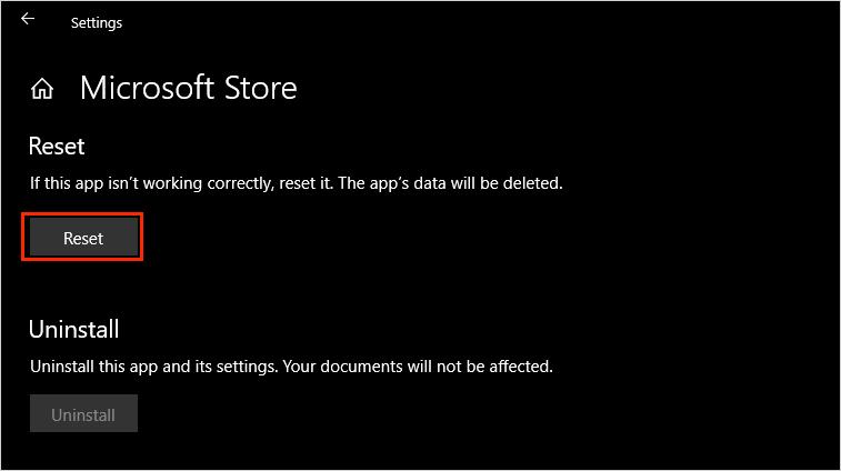 Chọn mục Reset để khởi động lại Microsoft Store về mặc định