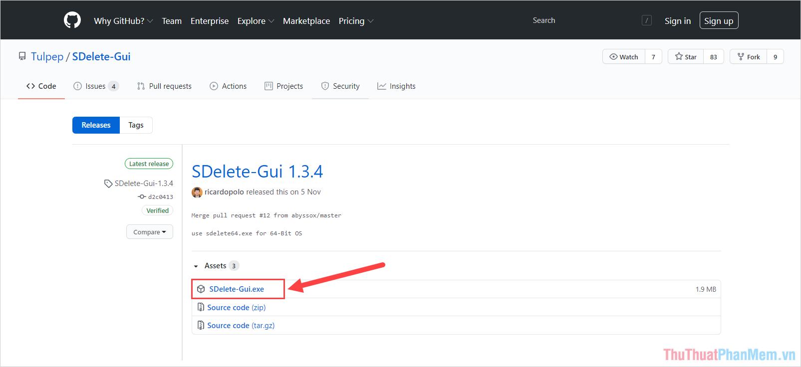 Chọn mục Sdelete-GUI.exe để tải phần mềm