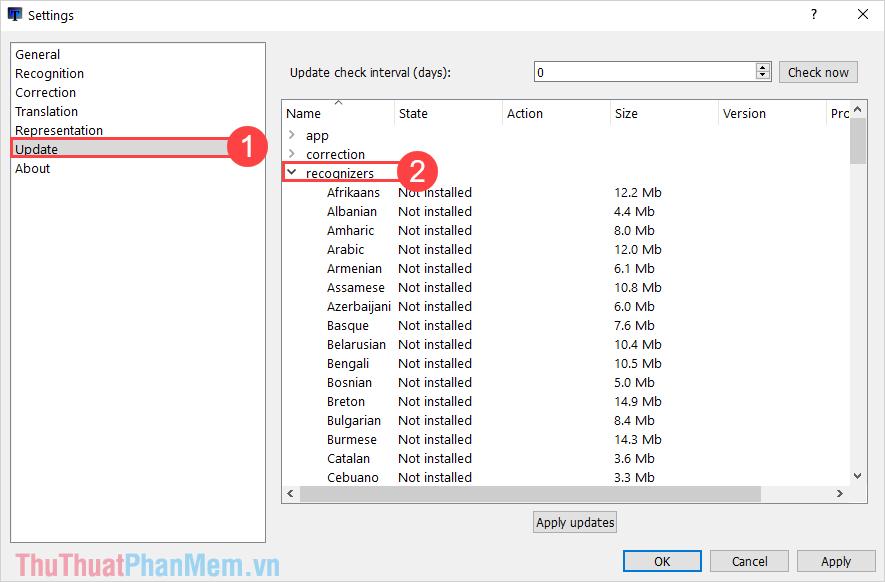 Chọn mục Update  và tìm đến mục Recognizers để thiết lập ngôn ngữ cần dịch