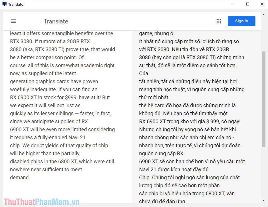 Hệ thống sẽ hiển thị văn bản dịch theo dạng cơ bản cho các bạn theo dõi bản gốc và bản dịch