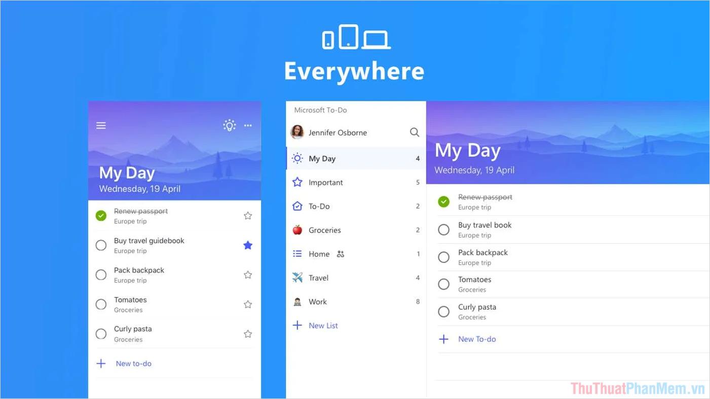 Microsoft To Do được phát triển bởi Microsoft
