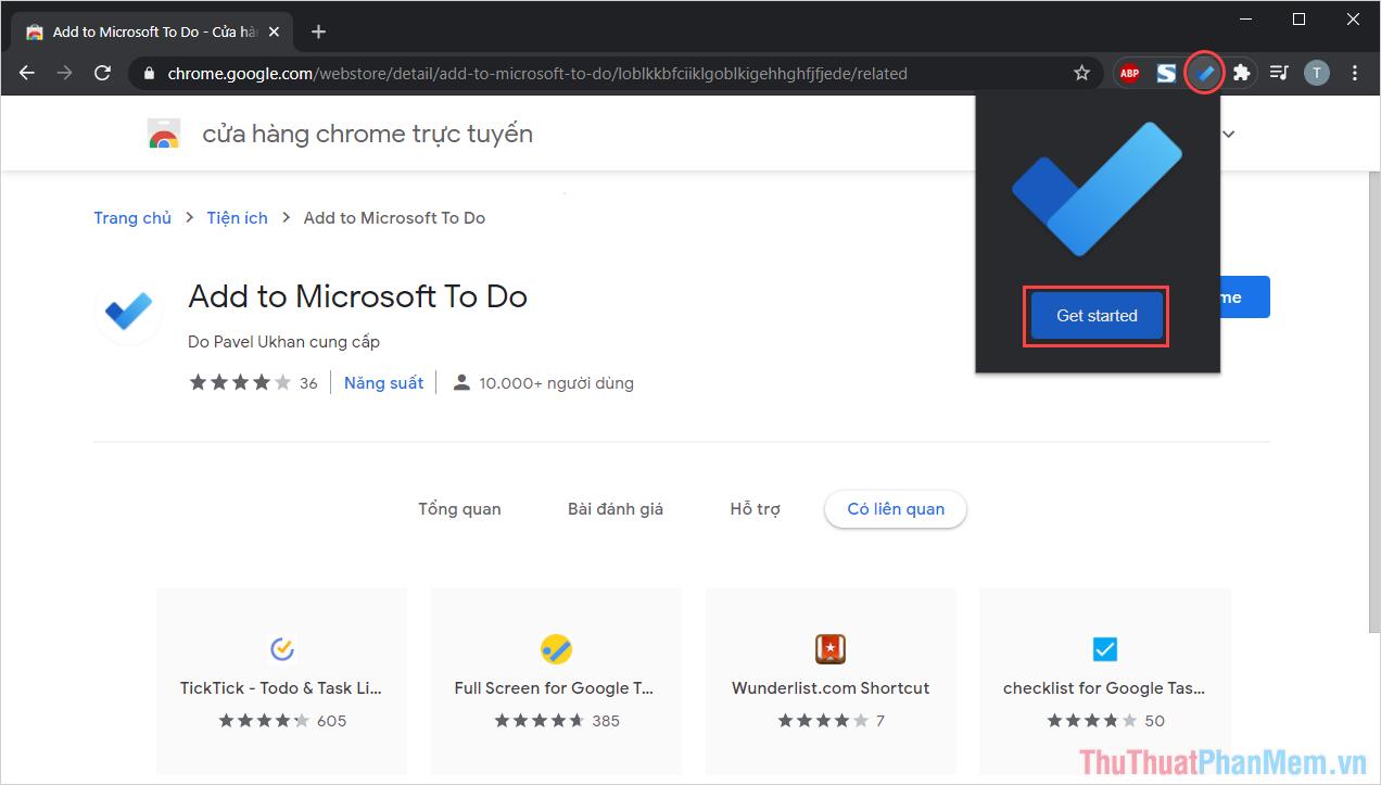 Nhấn vào biểu tượng Microsoft To Do và chọn Get Started