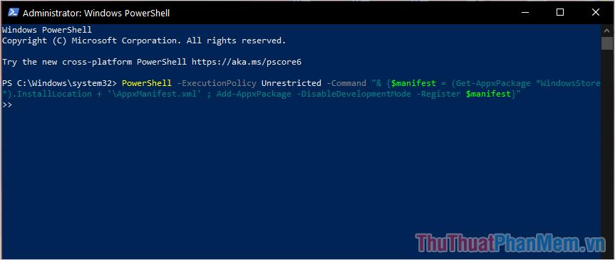 Sao chép mã lệnh PowerShell