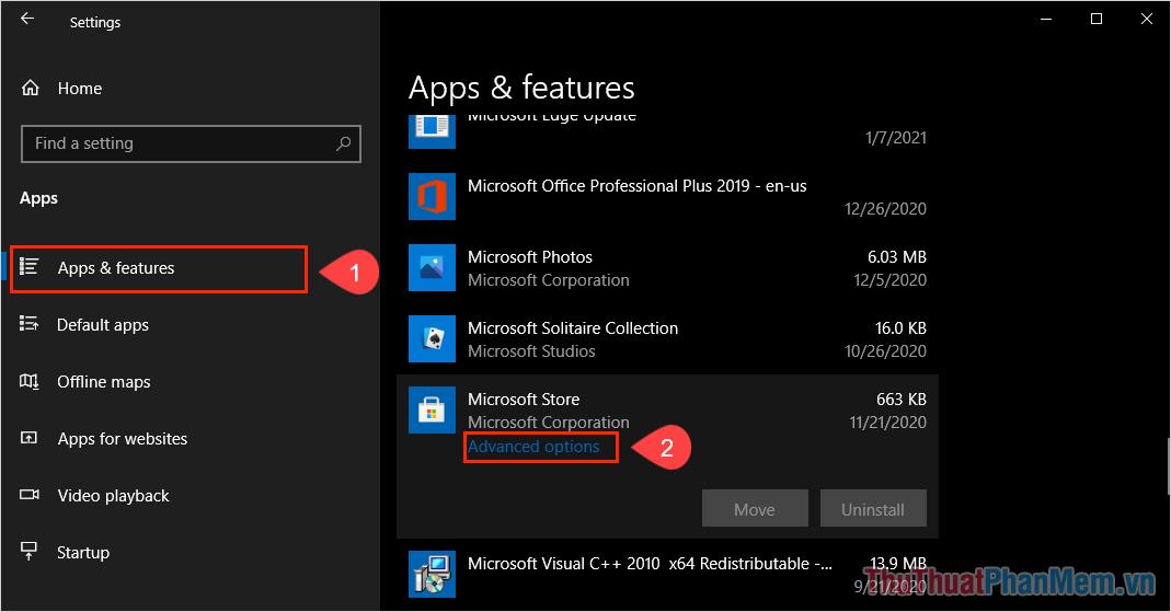 Tìm đến mục Microsoft Store để chọn Advanced Options