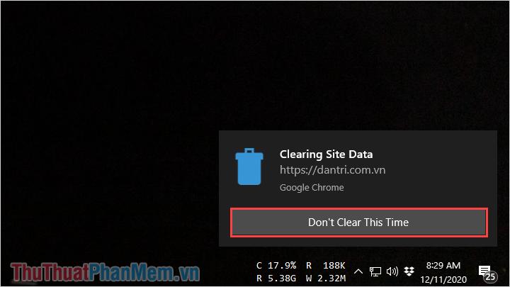 Chọn Don't Clear This Time – Không xóa lần này