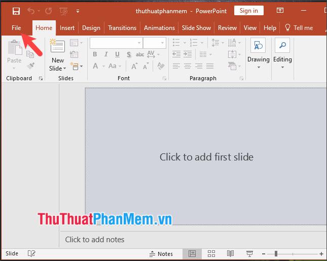 Click vào menu File