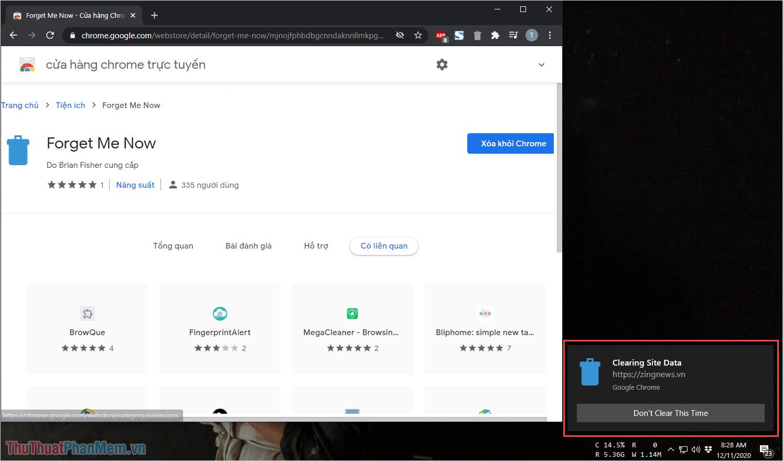 Đóng Tab trên Chrome sẽ nhận được thông báo Clearing Site Data – Đã xóa dữ liệu trang