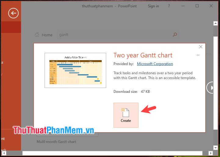Nhấn Create để tạo biểu đồ