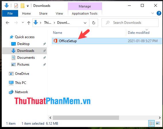 Mở file cài đặt OfficeSetup