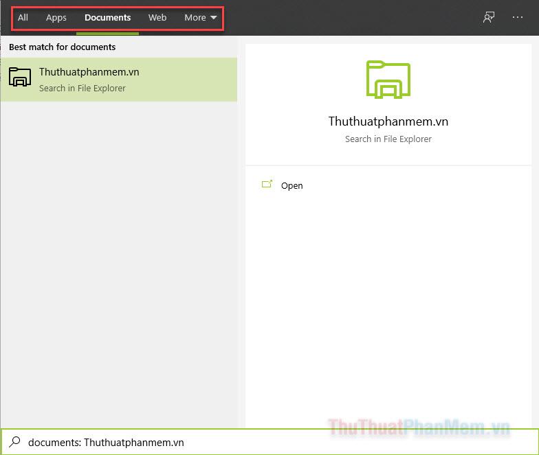 Bạn có thể lựa chọn những loại kết quả (ứng dụng, tài liệu, web,...) bằng menu bên trên cửa sổ