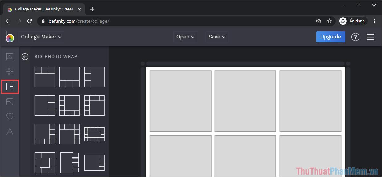 Chọn mục Collage để mở các khung ghép ảnh sẵn có trên hệ thống