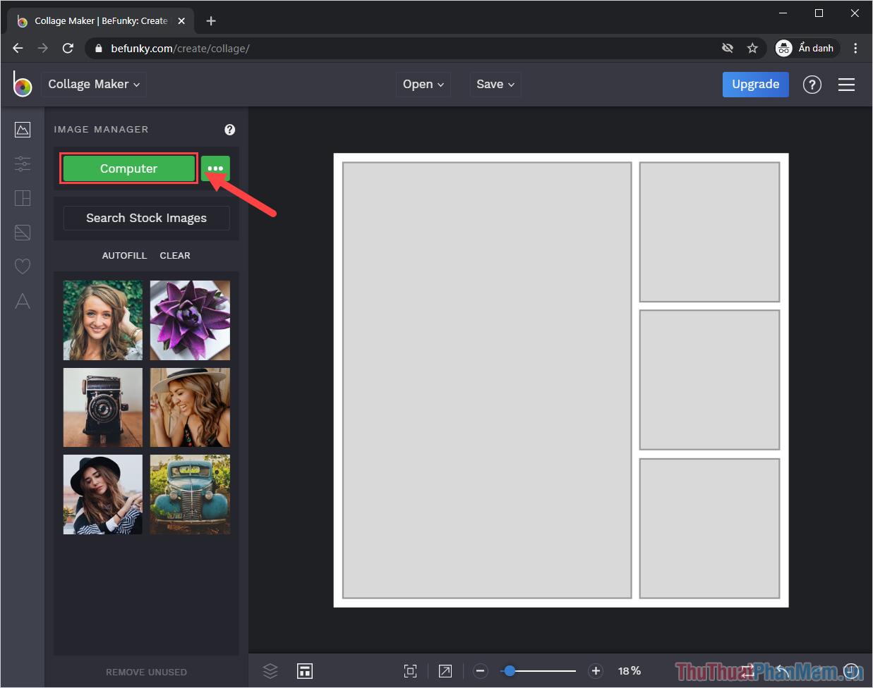 Chọn mục Computer để tiến hành tải hình ảnh cần ghép từ máy tính lên