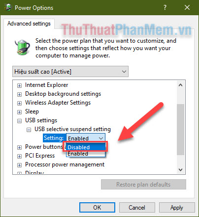 Chọn USB selective suspend settings Disabled