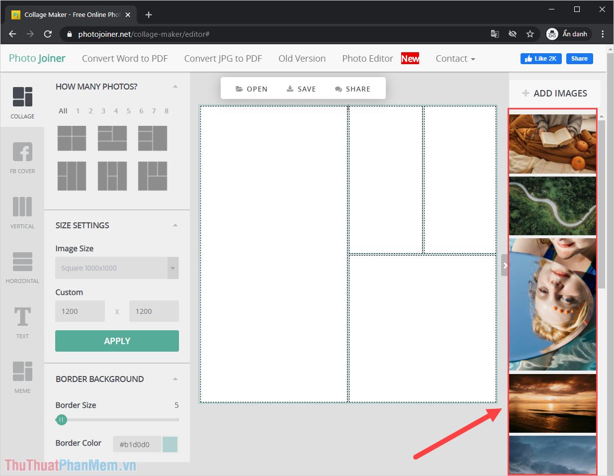 Hình ảnh sau khi được tải lên từ máy tính sẽ được hiển thị ở cột bên tay phải của giao diện làm việc